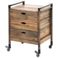 Brás wood gaveteiro estreito 3 gavetas