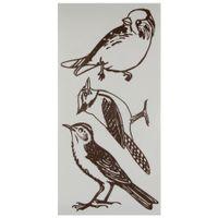 Pássaros xilo adesivo c/3